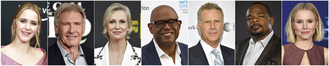 This combination photo of celebrities with birthdays during the week fo July 12-July 18, Rachel Brosnahan, from left, attends Amazon Prime Video's