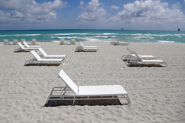 "Empty chairs sit on the beach, Thursday, March 19, 2020, in Miami Beach, Fla.  Florida's largest county inched closer to economic shutdown as Miami-Dade County's mayor ordered all beaches, parks and ""non-essential"" commercial and retail businesses closed because of the coronavirus outbreak. Mayor Carlos Gimenez's order Thursday allows several businesses to remain open, including health care providers, grocery stores, gas stations, restaurants and banks.  (AP Photo/Lynne Sladky)"