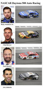 In these photos taken in February 2019, qualifying drivers and their cars in the starting field for Sunday's NASCAR Daytona 500 auto race are shown at Daytona International Speedway in Daytona Beach, Fla. They are, from top, Row 3, Ricky Stenhouse Jr., Clint Bowyer, Row 4, Paul Menard and Aric Almirola. (AP Photo)