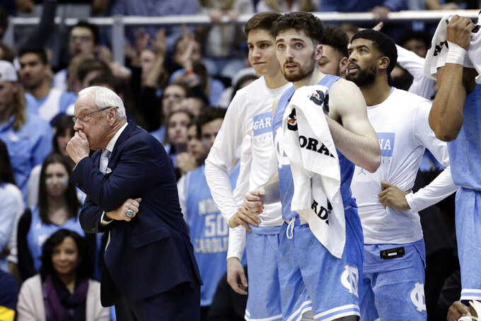 North Carolina head coach Roy Williams looks on during the second half of an NCAA college basketball game against Duke in Chapel Hill, N.C., Saturday, Feb. 8, 2020. (AP Photo/Gerry Broome)