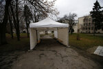 In this photo taken Wednesday, Jan. 6, 2021, an empty tent set up in front of Institute of Virology, Vaccines and Sera