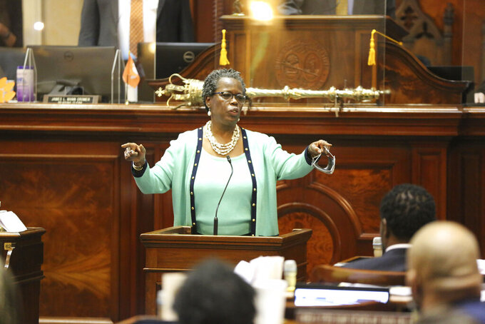 South Carolina Rep. Gilda Cobb-Hunter, D-Orangeburg, asks lawmakers to put a $1,200 bonus for state workers making under $50,000 a year into the budget on Wednesday, June 9, 2021, in Columbia, S.C. The proposal failed. (AP Photo/Jeffrey Collins)