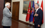 Josep Borrell Fontelles, High Representative and Vice-President of the European Commission, left, and Turkey's Defense Minister Hulusi Akar greet each other before a meeting in Ankara, Turkey, Monday, July 6, 2020. Turkey's Foreign Minister Mevlut Cavusoglu on Monday called on the European Union to be an