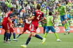 Seattle Sounders forward Jordan Morris (13) misses a header on goal the first half of round one of a MLS Cup playoff soccer game against FC Dallas, Saturday, Oct. 19, 2019 in Seattle. (Andy Bao/The Seattle Times via AP)