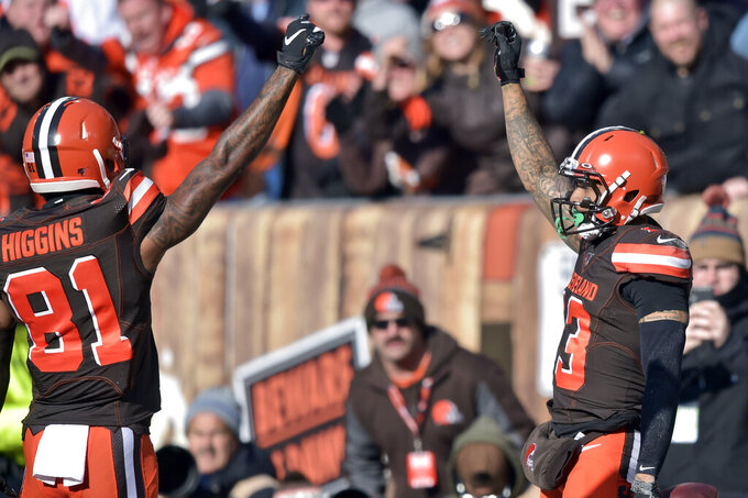 Cleveland Browns wide receiver Odell Beckham Jr. (13) and wide receiver Rashard Higgins (81) celebrate Beckham's touchdown during the first half of an NFL football game against the Miami Dolphins, Sunday, Nov. 24, 2019, in Cleveland. (AP Photo/David Richard)