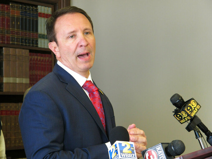 FILE - In this April 1, 2019 file photo, Louisiana Attorney General Jeff Landry talks about health care legislation he's backing in the upcoming session, in Baton Rouge, La. The Biden administration's suspension of new oil and gas leases on federal land and water was blocked Tuesday by a federal judge in Louisiana. U.S. District Judge Terry Doughty's ruling came in a lawsuit filed in March by Louisiana's Republican attorney general, Jeff Landry and officials in 12 other states.  (AP Photo/Melinda Deslatte, File)