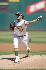 Oakland Athletics pitcher Sean Manaea (55) works against the Detroit Tigers during the first inning of a baseball game Sunday, Sept. 8, 2019, in Oakland, Calif. (AP Photo/Ben Margot)