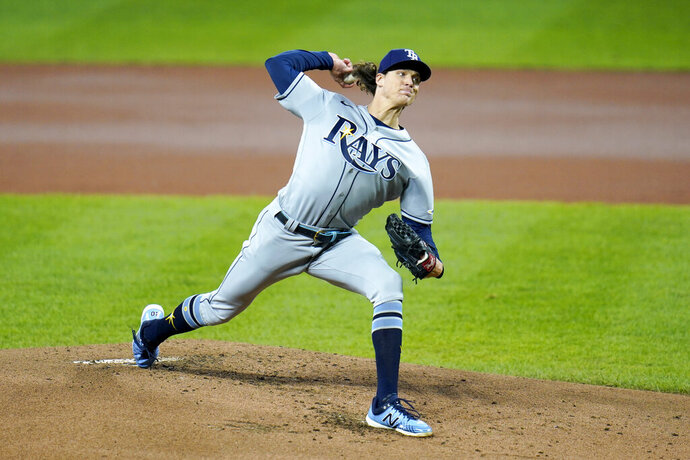 Tampa Bay Rays pitcher Tyler Glasnow throws a pitch to the Baltimore Orioles during the first inning of a baseball game, Friday, Sept. 18, 2020, in Baltimore. (AP Photo/Julio Cortez)