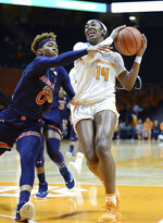 Tennessee guard Zaay Green (14) drives to the basket against Auburn during the second quarter of an NCAA college basketball game Thursday, Feb. 14, 2019, in Knoxville, Tenn. (Joy Kimbrough/The Daily Times via AP)