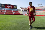Iowa State quarterback Brock Purdy walks on the field during the school's annual NCAA college football media day, Thursday, Aug. 1, 2019, in Ames, Iowa. (AP Photo/Charlie Neibergall)