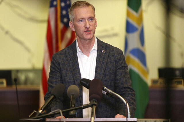 FILE - In this Aug. 30, 2020 file photo Portland Mayor Ted Wheeler speaks during a news conference. On Monday, Jan. 25, 2021, Wheeler said the ongoing criminal destruction and violence occurring in his city - which has been the epicenter of protests against racial injustice for eight months - is
