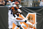 Cincinnati Bengals cornerback Darius Phillips, right, intercepts a pass intended for Indianapolis Colts wide receiver Parris Campbell during the first half of an NFL preseason football game,Thursday, Aug. 29, 2019, in Cincinnati. (AP Photo/Gary Landers)