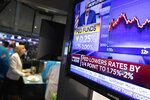 A television monitor at the New York Stock Exchange carries the news after the Federal Reserve made its interest rate announcement, Wednesday, Sept. 18, 2019. (AP Photo/Mark Lennihan)