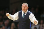 Texas A&M head coach Buzz Williams watches during the second half of an NCAA college basketball game against Vanderbilt Saturday, Jan. 11, 2020, in Nashville, Tenn. Texas A&M won 69-50. (AP Photo/Mark Humphrey)