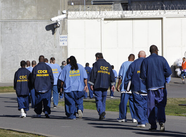 FILE - In this Feb. 26, 2013, file photo, inmates walk through the exercise yard at California State Prison Sacramento, near Folsom, Calif. One inmate and five employees in California's massive prison system have tested positive for coronavirus, leading to increased pressure Monday, March 23, 2020, on corrections officials to begin releasing some of the state's 123,000 convicts early. (AP Photo/Rich Pedroncelli, File)