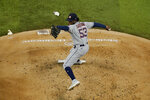 Houston Astros' Cristian Javier (53) pitches in the second inning of a baseball game against the Texas Rangers in Arlington, Texas, Thursday, Sept. 24, 2020. (AP Photo/Tony Gutierrez)
