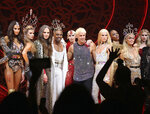 This Sept. 9, 2019 photo shows, foreground from third left, Jordan Roth, Billy Porter, The Blonds designers David Blond and Phillipe Blond and Paris Hilton, second right, after the