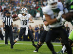 Western Michigan quarterback Jon Wassink (16) throws a pass against Michigan State during the first quarter of an NCAA college football game Saturday, Sept. 7, 2019, in East Lansing, Mich. (AP Photo/Al Goldis)