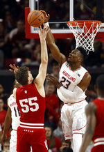 Maryland forward Bruno Fernando blocks a shot attempt by Indiana forward Evan Fitzner during the second half of an NCAA college basketball game Friday, Jan. 11, 2019, in College Park, Md. Maryland won 78-75. (AP Photo/Patrick Semansky)