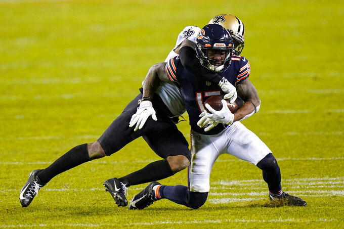 New Orleans Saints safety C.J Gardner-Johnson (22) tackles Chicago Bears wide receiver Anthony Miller (17) in the second half of an NFL football game in Chicago, Sunday, Nov. 1, 2020. (AP Photo/Nam Y. Huh)