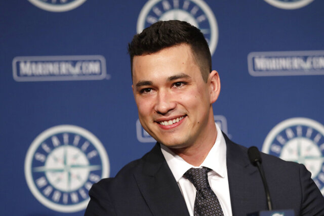Seattle Mariners pitcher Marco Gonzales smiles during a baseball news conference Tuesday, Feb. 4, 2020, in Seattle. Gonzales and the Mariners agreed to a $30 million contract covering 2021-24, a deal that includes a club option and could be worth $45 million over five seasons. Gonzales is coming off the best season of his career. (AP Photo/Elaine Thompson)