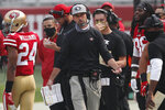 San Francisco 49ers head coach Kyle Shanahan walks on the sideline during the second half of an NFL football game against the Arizona Cardinals in Santa Clara, Calif., Sunday, Sept. 13, 2020. (AP Photo/Josie Lepe)