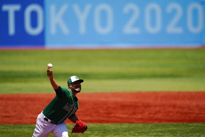 Mexico's Manuel Barrera pitches during a baseball game against Israel at Yokohama Baseball Stadium during the 2020 Summer Olympics, Sunday, Aug. 1, 2021, in Yokohama, Japan. (AP Photo/Matt Slocum)