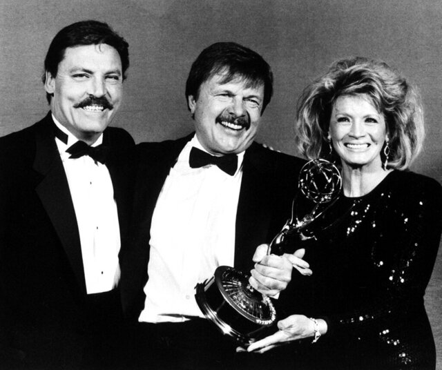 FILE - This Sept. 21, 1986 file photo shows actor John Karlen, center, who portrays the husband of detective Mary Beth Lacey on the TV show