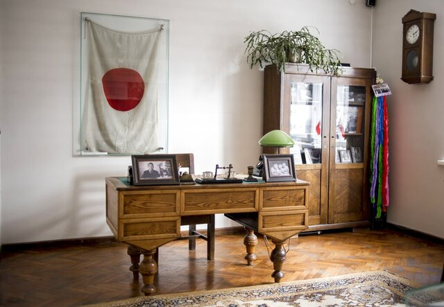 This handout photo provided by Chiune Sugihara Memorial Museum, shows a working room in Chiune Sugihara memorial museum in Kaunas, Lithuania, Tuesday, May 12, 2020. A museum in Lithuania dedicated to a Japanese diplomat who saved thousands of Jews in the early hours of World War II, that saw the number of visitors drop due to corona virus outbreak, has been saved by people in Japan, officials said Friday, July 31, 2020. (Chiune Sugihara Memorial Museum via AP)