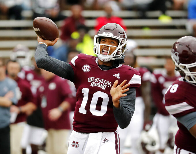 Mississippi State quarterback Keytaon Thompson (10) throws a pass during the team's spring NCAA college football game in Starkville, Miss., Saturday, April 13, 2019. (AP Photo/Rogelio V. Solis)