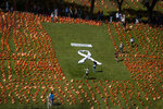 People walk among the Spanish flags placed in memory of coronavirus (COVID-19) victims in Madrid, Spain, Sunday, Sept. 27, 2020. An association of families of coronavirus victims has planted what it says are 53,000 small Spanish flags in a Madrid park to honor the dead of the pandemic. (AP Photo/Manu Fernandez)