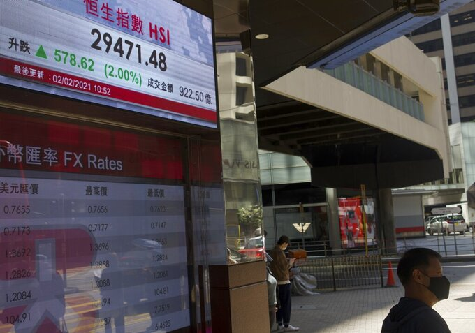 A man walks past a bank's electronic board showing the Hong Kong share index in Hong Kong Tuesday, Feb. 2, 2021. Asian stocks followed Wall Street higher Tuesday after President Joe Biden invited Republicans to a meeting to discuss economic aid, while silver eased off an eight-year high.(AP Photo/Vincent Yu)
