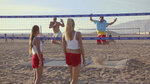This undated image provided by Michelob ULTRA shows from left, Brooke Sweat, John Cena, Kerri Walsh Jennings and Jimmy Fallon in a scene from the company's 2020 Super Bowl NFL football spot.  Michelob Ultra stresses its low calories and low carbs in an ad that shows talk show host Jimmy Fallon and wrestler John Cena working out. (Michelob ULTRA via AP)