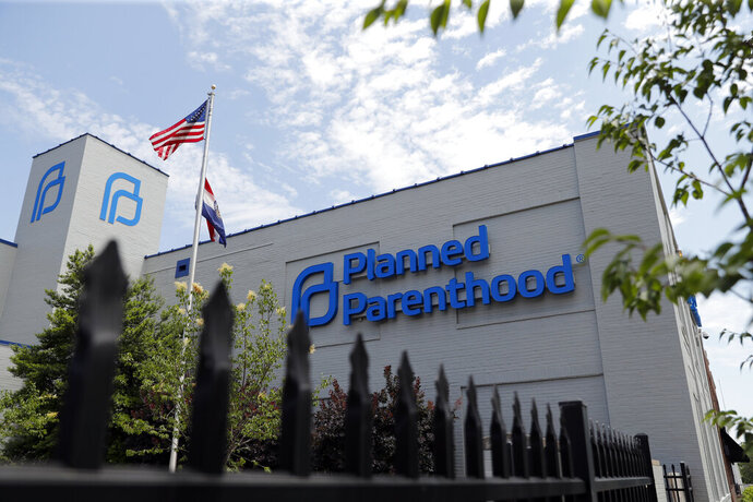 FILE - In this Tuesday, June 4, 2019 file photo, a Planned Parenthood clinic is seen in St. Louis. Missouri's only abortion clinic will be able to keep operating after a state government administrator decided Friday, May 29, 2020, that the health department was wrong not to renew the license of Planned Parenthood's St. Louis facility. (AP Photo/Jeff Roberson, File)