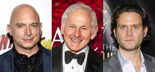 "This combination of photos shows actors, from left, Michael Cerveris, Victor Garber and Steven Pasquale, who will participate in the dark musical ""Assassins,"" for a streaming fundraising event. Cast members of the show's 1990 world premiere will join with the 2004 Tony-winning revival, as well as the cast of the upcoming Classic Stage Company production for an hour-long filmed program on April 15 that mixes memories and music, exploring the show from the actors' points of view. (AP Photo)"