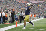 Notre Dame wide receiver Chase Claypool (83) goes in for a touchdown during the first half of an NCAA college football game against Bowling Green, Saturday, Oct. 5, 2019, in South Bend, Ind. (AP Photo/Darron Cummings)