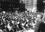 FILE - In this June 29, 1963, file photo, Malcolm X addresses a rally in Harlem in New York. During the critical era of the 1950s and '60s, Martin Luther King Jr., who led the 250,000-strong March on Washington in 1963, and Malcolm X were colossal 20th century figures, representing two different tracks: mass non-violent protest and getting favorable outcomes