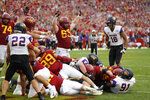 Iowa State running back Sheldon Croney, right, dives over the goal line to score the winning touchdown in the third overtime of a NCAA college football game against Northern Iowa, Saturday, Aug. 31, 2019, in Ames. Iowa State won 29-26 in a third overtime. (AP Photo/Matthew Putney)