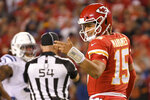Kansas City Chiefs quarterback Patrick Mahomes (15) looks to the sideline during the first half of the team's NFL football game against the Indianapolis Colts in Kansas City, Mo., Sunday, Oct. 6, 2019. (AP Photo/Reed Hoffmann)