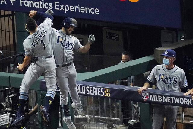 Tampa Bay Rays' Brandon Lowe celebrates a two-run home run with Willy Adames during the fifth inning in Game 2 of the baseball World Series against the Los Angeles Dodgers Wednesday, Oct. 21, 2020, in Arlington, Texas. (AP Photo/Sue Ogrocki)