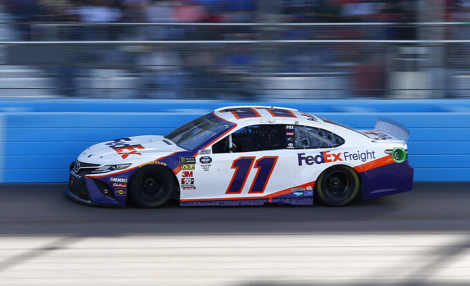 Denny Hamlin drives during the NASCAR Cup Series auto race at ISM Raceway, Sunday, March 10, 2019, in Avondale, Ariz. (AP Photo/Ralph Freso)