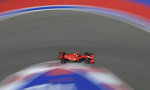 Ferrari driver Charles Leclerc of Monaco steers his car during the qualifying session for the upcoming Russian Formula One Grand Prix, at the Sochi Autodrom circuit, in Sochi, Russia, Saturday, Sept. 26, 2020. The Russian Formula One Grand Prix will take place on Sunday. (Kirill Kudryavtsev, Pool via AP)