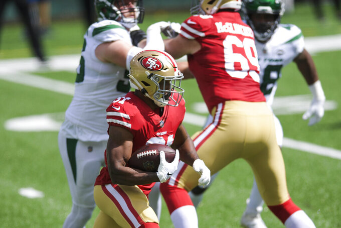 San Francisco 49ers running back Raheem Mostert (31) rushes for a touchdown during the first half of an NFL football game against the New York Jets, Sunday, Sept. 20, 2020, in East Rutherford, N.J. (AP Photo/Bill Kostroun)