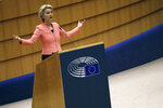 European Commission President Ursula von der Leyen addresses the plenary during her first State of the Union speech at the European Parliament in Brussels, Wednesday, Sept. 16, 2020. European Commission President Ursula von der Leyen will set out her vision of the future in her first State of the European Union address to the EU legislators. Weakened by the COVID-19 pandemic and the departure of the United Kingdom, she will center her speech on how the bloc should adapt to the challenges of the future, including global warming, the switch to a digital economy and immigration. (AP Photo/Francisco Seco)