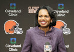 FILE- In this Oct. 21, 2010, file photo former Secretary of State Condoleezza Rice talks with the media after visiting with the Cleveland Browns coaches and players at the Browns training facility in Berea, Ohio. When you go 0-16 these things happen. The Browns plunged to such depths after their winless 2017 season they were compelled to knock down a report they were considering former Secretary of State Condoleezza Rice to be their next coach.  (AP Photo/Amy Sancetta, File)