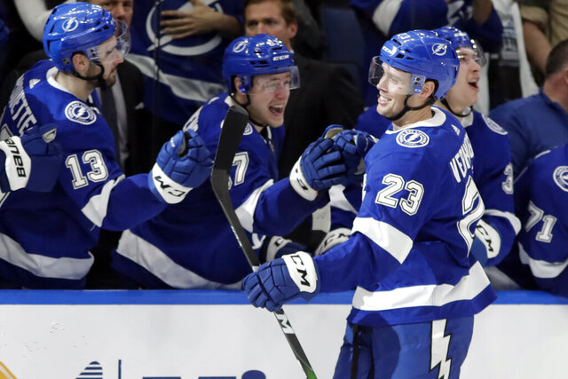 Tampa Bay Lightning center Carter Verhaeghe (23) celebrates with the bench after his third goal against the Vancouver Canucks during the third period of an NHL hockey game Tuesday, Jan. 7, 2020, in Tampa, Fla. (AP Photo/Chris O'Meara)