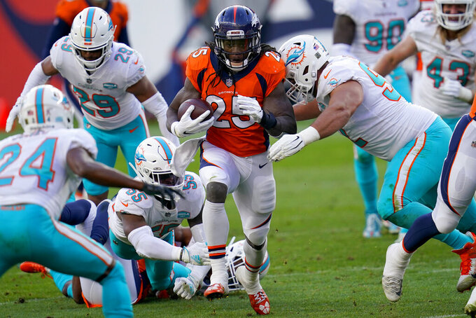 Denver Broncos running back Melvin Gordon (25) runs as Miami Dolphins defensive end Zach Sieler makes the hit during the first half of an NFL football game, Sunday, Nov. 22, 2020, in Denver. (AP Photo/David Zalubowski)