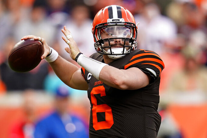 Cleveland Browns quarterback Baker Mayfield (6) throws against the Denver Broncos during the first half of NFL football game, Sunday, Nov. 3, 2019, in Denver. (AP Photo/Jack Dempsey)