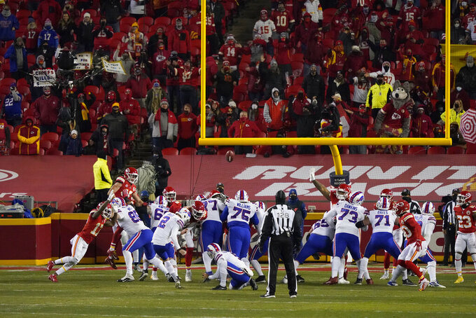 Buffalo Bills place kicker Tyler Bass (2) kicks a 27-yard field goal during the second half of the AFC championship NFL football game against the Kansas City Chiefs, Sunday, Jan. 24, 2021, in Kansas City, Mo. (AP Photo/Jeff Roberson)
