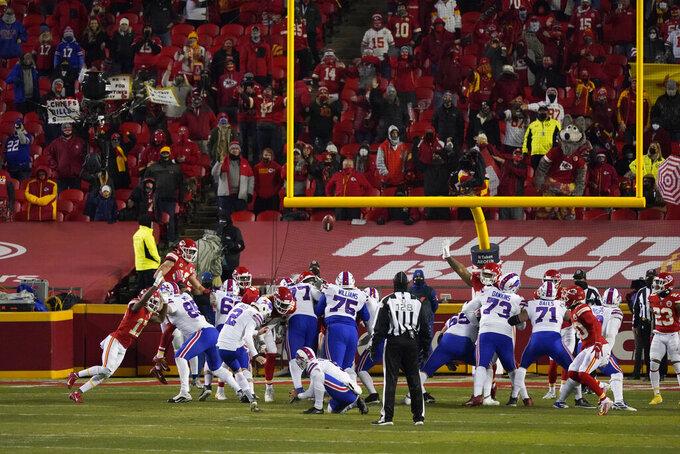 Buffalo Bills place kicker Tyler Bass (2) kicks a 27-yard field goal during the second half of the AFC championship NFL football game against the Kansas City Chiefs, Sunday, Jan. 24, 2021, in Kansas City, Mo. (AP Photo/Jeff Roberson)
